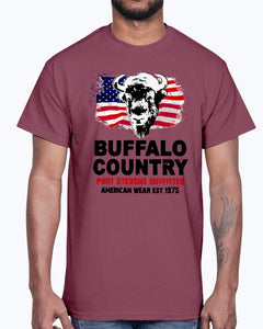Men's Gildan Ultra Cotton T-Shirt 12 Dark colors  Buffalo Country