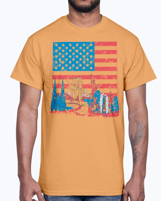 Men's Gildan Ultra Cotton T-Shirt 11 Light coloros      USA Flag and Attractions,  design-852 2