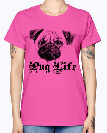 Gildan Ladies Missy T-Shirt 16 Light Colors   Pug Life