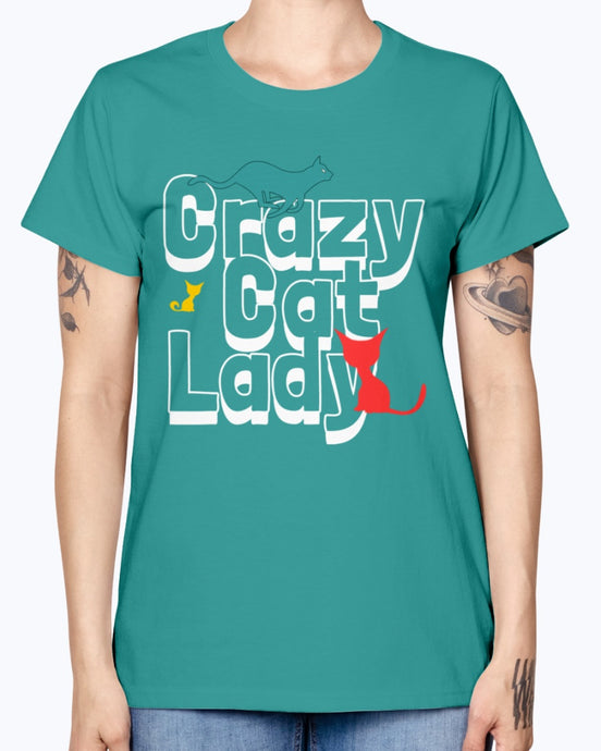 Gildan Ladies Missy T-Shirt. Crazy cat lady