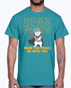 Men's Gildan Ultra Cotton T-Shirt  Star Paws Meow The Force Be With You