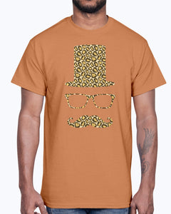 Men's Gildan Ultra Cotton T-Shirt 12 Dark colors.  Sir Gentleman Leopard Style