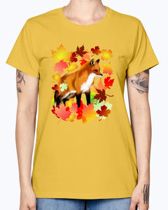 Gildan Ladies Missy T-Shirt 16 Light Colors       A FOX in FALL
