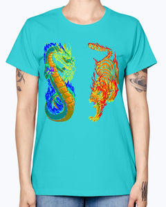 Gildan Ladies Missy T-Shirt 16 colors. Dragon vs Tiger