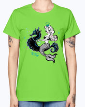 Load image into Gallery viewer, Gildan Ladies Missy T-Shirt. Mermaid Riding A Seahorse