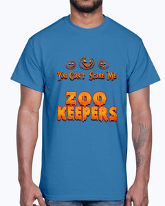 Men's Gildan Ultra Cotton T-Shirt .You Can't Scare Me I Am A Zoo Keepers Halloween