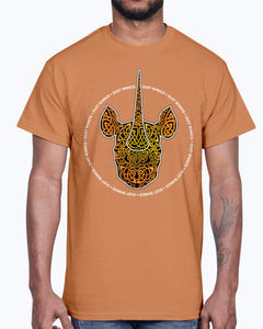 Men's Gildan Ultra Cotton T-Shirt 12 Dark colors.   Dust Rhinos Orange Knotwork