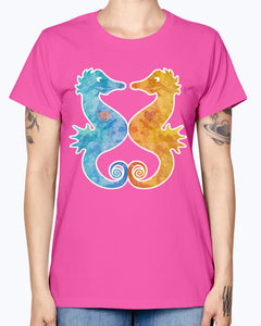 Gildan Ladies Missy T-Shirt. Seahorses in Love