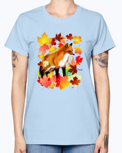 Load image into Gallery viewer, Gildan Ladies Missy T-Shirt 16 Light Colors       A FOX in FALL
