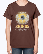 Load image into Gallery viewer, Gildan 2000L Ultra Cotton Ladies T-Shirt 13 colors Dark.  A Woman Who Love Rhinos