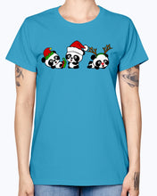 Load image into Gallery viewer, Gildan Ladies Missy T-Shirt. Christmas Pandas.