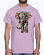 Load image into Gallery viewer, Men's Gildan Ultra Cotton T-Shirt Light coloros. Ornate Elephant Color Version