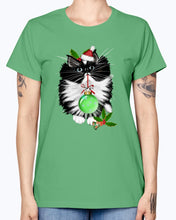 Load image into Gallery viewer, Gildan Ladies Missy T-Shirt. A Tuxedo Merry Christmas
