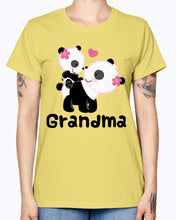Load image into Gallery viewer, Gildan Ladies Missy T-Shirt. Grandma Gift (Panda) Women's
