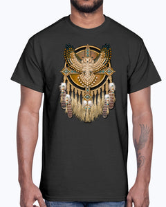 Men's Gildan Ultra Cotton T-Shirt 12 Dark colors. Beadwork Great Horned Owl Mandala