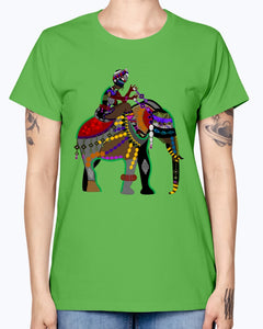 Gildan Ladies Missy T-Shirt  Africa elephant art