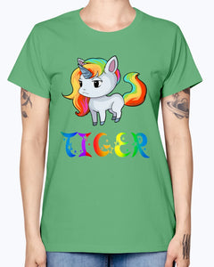 Gildan Ladies Missy T-Shirt 16 colors. Tiger Unicorn
