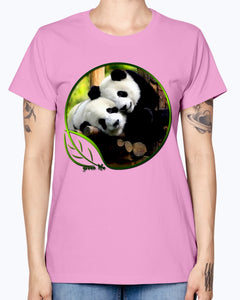 Gildan Ladies Missy T-Shirt  Green Life Panda's