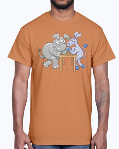 Men's Gildan Ultra Cotton T-Shirt   Arm Wrestling Donkey vs Elephant Mugs & Drinkware