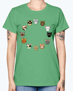 Gildan Ladies Missy T-Shirt. 12 cat heads Kids' Shirts