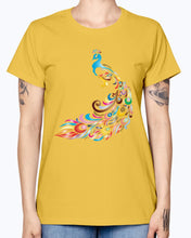 Load image into Gallery viewer, Gildan Ladies Missy T-Shirt 16 colors         Chromatic Peacock 2 No Background
