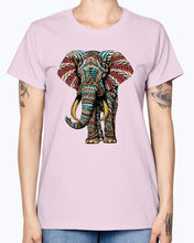 Load image into Gallery viewer, Gildan Ladies Missy T-Shirt  Ornate Elephant Color Version