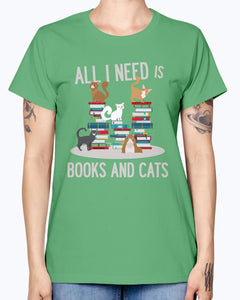 Gildan Ladies Missy T-Shirt. BOOKS AND CATS