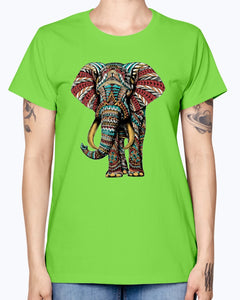 Gildan Ladies Missy T-Shirt  Ornate Elephant Color Version
