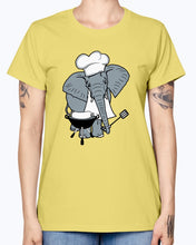 Load image into Gallery viewer, Gildan Ladies Missy T-Shirt   Cook,  grill,  hat, elephant