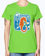 Load image into Gallery viewer, Gildan Ladies Missy T-Shirt . Seepferdchen used look