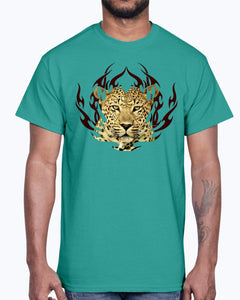 Men's Gildan Ultra Cotton T-Shirt 12 Dark colors.  Leopard