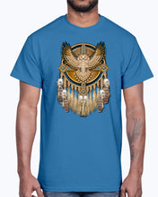 Load image into Gallery viewer, Men's Gildan Ultra Cotton T-Shirt 12 Dark colors. Beadwork Great Horned Owl Mandala