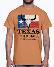 Load image into Gallery viewer, Men's Gildan Ultra Cotton T-Shirt 12 Dark colors   Texas Bull Flag