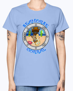 Gildan Ladies Missy T-Shirt. The Seahorse Corral
