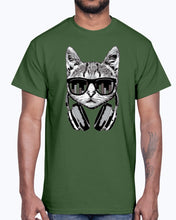 Load image into Gallery viewer, Men's Gildan Ultra Cotton T-Shirt     Headphones Cat Equalizer Glasses   (Mens)