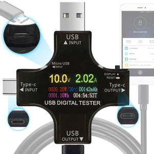 USB PD Power Meter with USB type-C, type-B, and type-A Ports, RGB