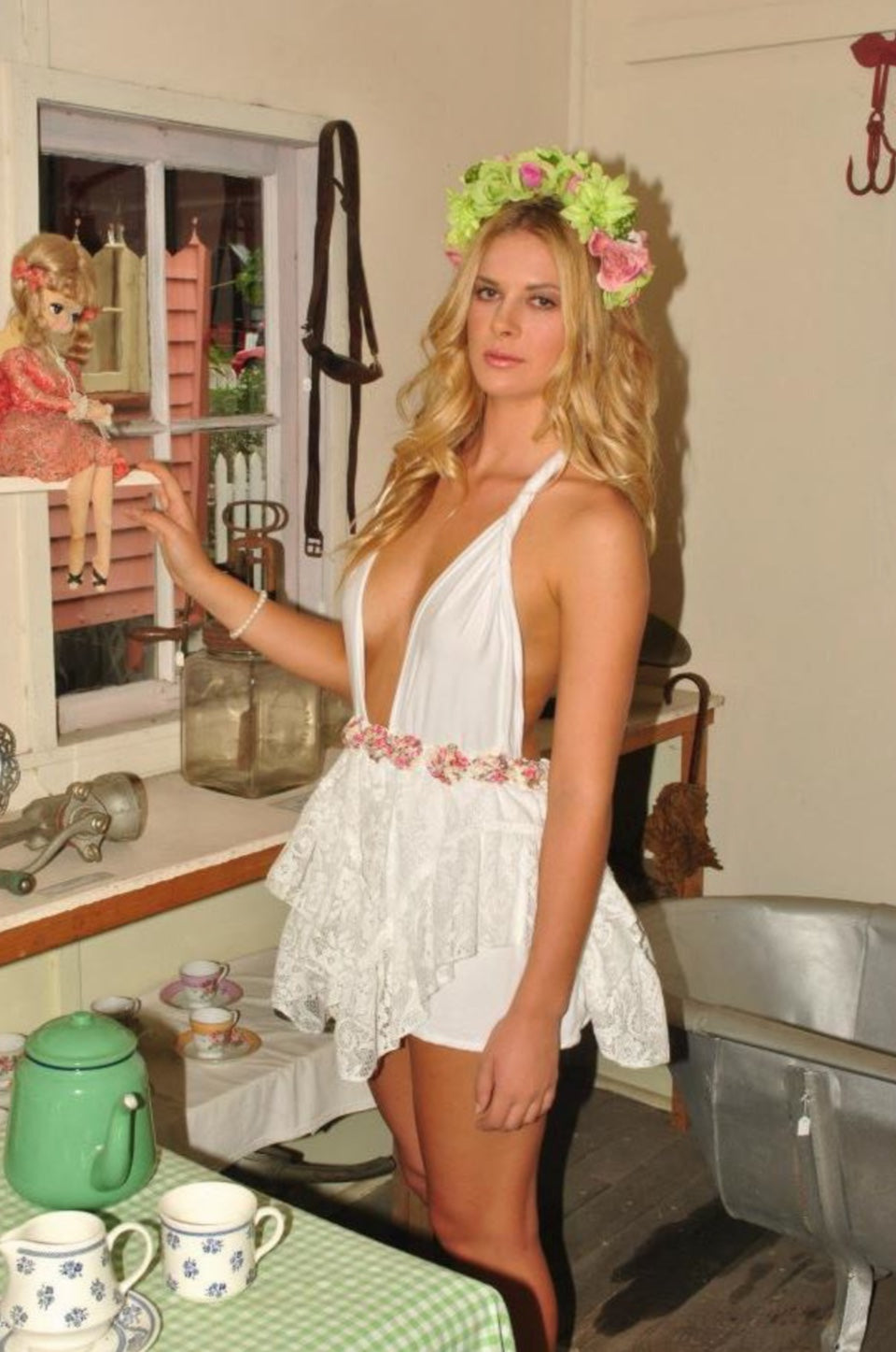 Lola lace plunge dress - made to order