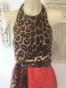 Animal Warrior cheetah halter dress (6-10)
