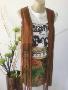 Coachella suede leather fringe vest