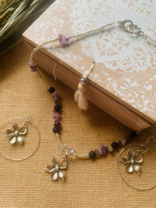 Amethyst Flower Power necklace and earrings Gift set