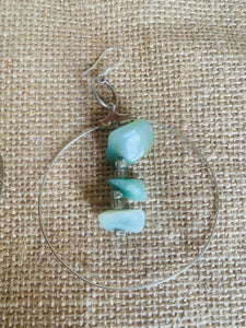Aventurine Delight sterling hoops
