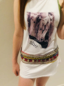 She warrior long print tank
