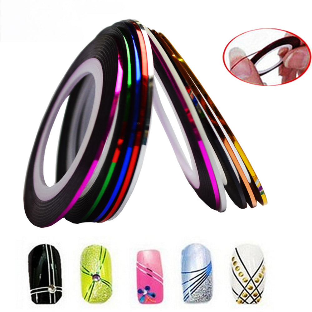 1 x Fashion 1mm/2mm/3mm/6mm Nail Rolls Striping Tape Line Decorations Nail Sticker DIY for Nail Art UV Gel Polish Tips BEND213