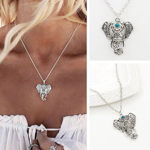 N127 Ethnic Clavicle Women Necklace Boho Vintage Lucky Elephant Turquoies Pendant Colar Everyday Fashion Jewelry Minimalist