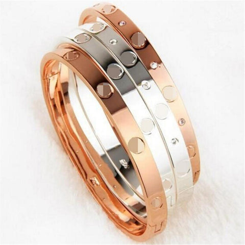 Luxury Brand Jewelry Silver/ Gold Plate with Unique Shaped Inlay Rhinestone Charm Bracelet Bangles for Women Party
