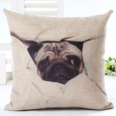 Cute Pug Dog Animal Printed Cotton Linen Cushion Pillowcase Decorative Pillows Use For Home Sofa Car Office Almofadas Cojines