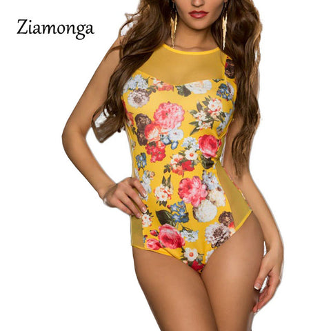 Ziamonga 2017 Fashion Rompers Womens Jumpsuit Printed Floral Sleeveless Women One Piece Sexy Slim Bodysuit Mesh Playsuits C2854