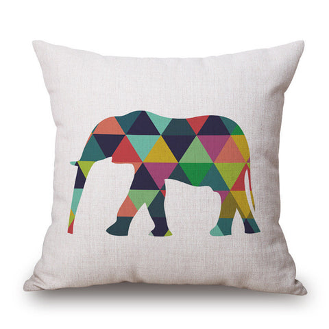 1 Pcs Deer Elephant Pattern Cotton Linen Throw Pillow Cushion Cover Home Decoration Sofa Bed Decor Decorative Pillowcase 40161