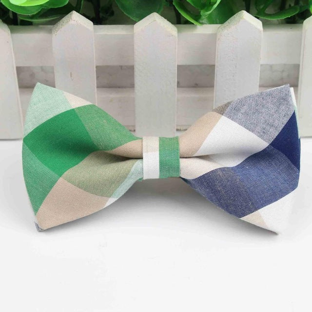Men Bow Tie Plaid Style Cotton Bowtie Casual Gravata Borboleta Butterfly Tartan Strip Colorful Ties