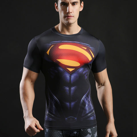 3D Superman Tshirt Fitness Men Camiseta Funny personality T shirt Compression Superhero Male Tees 2017 O-neck Tops ZOOTOP BEAR